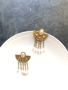 Victorian Semicircle Pearl Beads Tassels 14k Gold Statement Earrings
