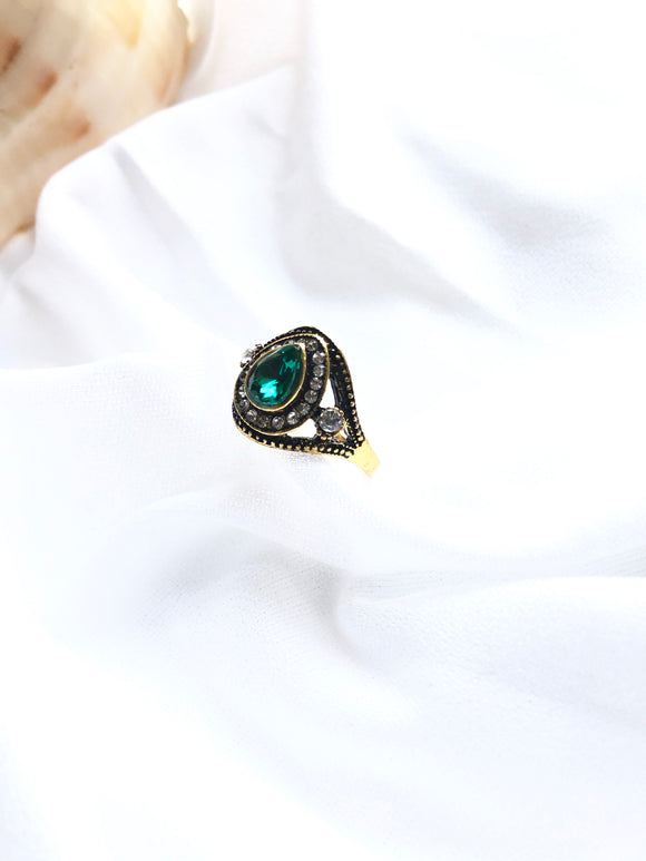 Victorian Teardrop Green 14k Gold Plated Ring