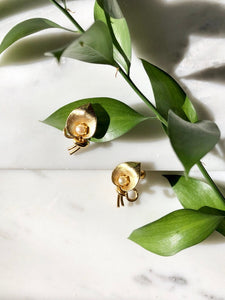 Vintage 70s Gold Pearl Calla Earrings