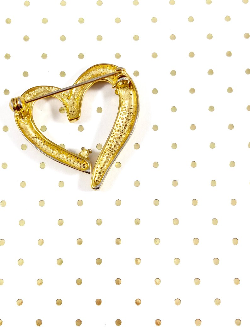 Vintage 80s Gold Heart with Sparkle Brooch