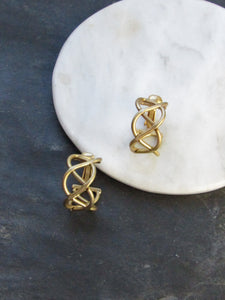 Art Deco Twined Line Matt Gold Clip On Earrings
