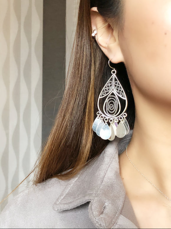 Boho Teardrop Silver Dangle Earrings