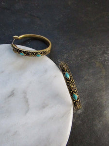 Diamond Faux Turquoise Antique Gold Hoop Earrings