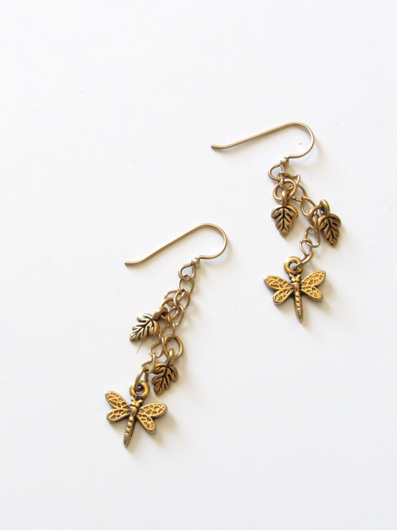 Dragonfly Leaves Matt Finish Gold Dangle Earrings