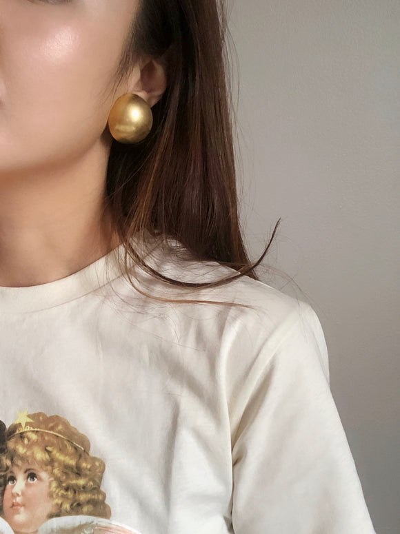 Erwin Pearl Oversized Gold Dome Earrings