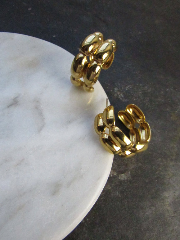 Monet Ellipsoid Chain Gold Half Hoop Earrings