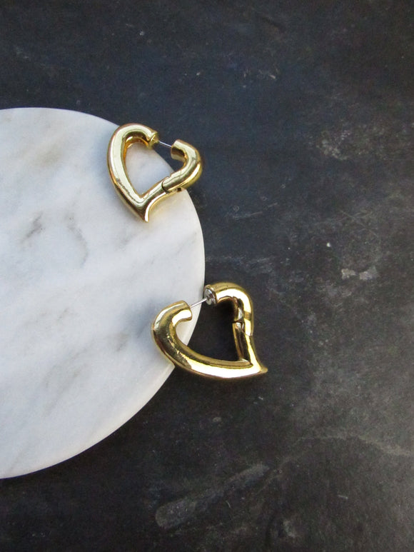 Rounded Heart Gold Hoop Earrings