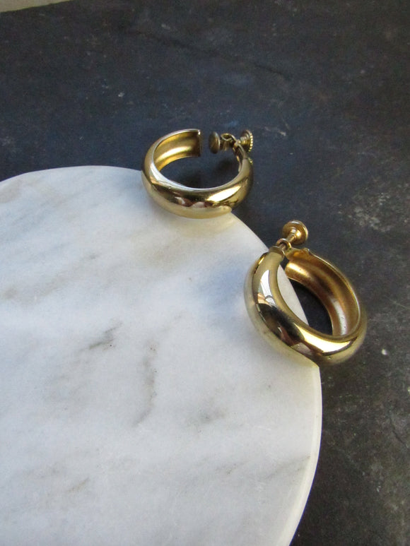 Minimalist Rounded Gold Hoop Earrings