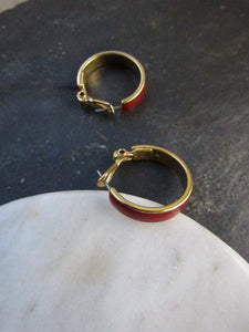 Monet Bloody Red Enamel Gold Hoop Earrings