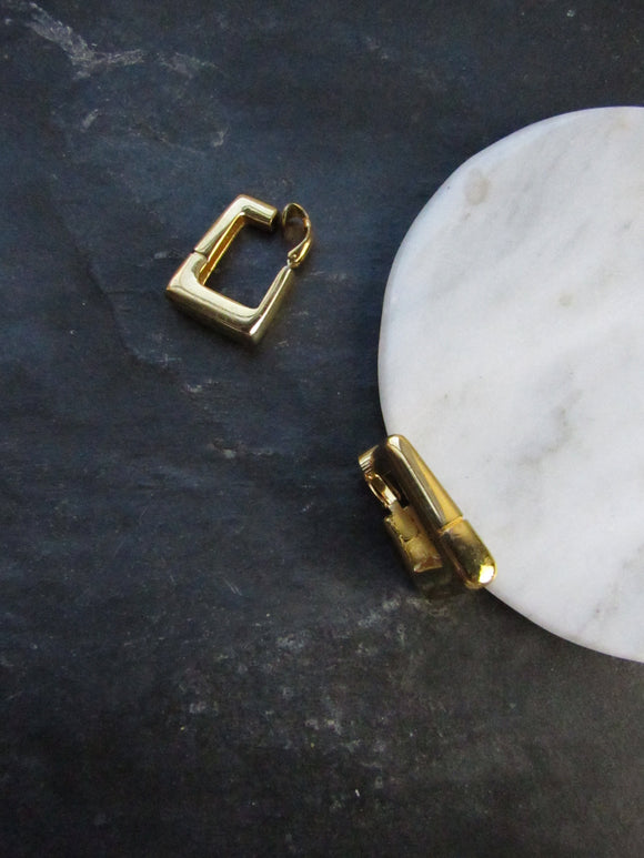 Trifari Rounded Rectangle Gold Hoop Earrings