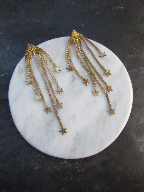 Multiple Star Tassel Gold Dangle Earrings