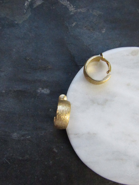 Minimalist Matt Gold Wide Hoop Earrings