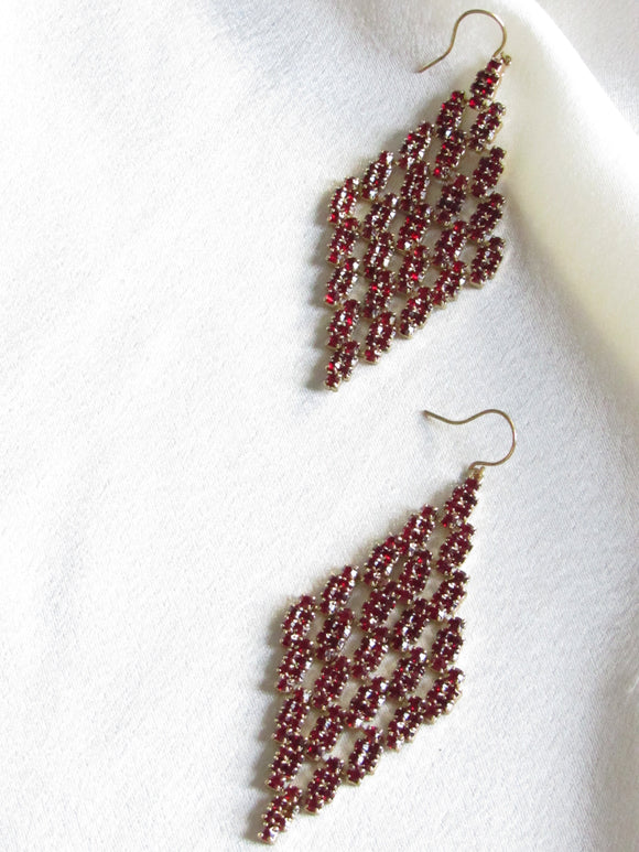 Red Ruby Rhinestone Gold Mesh Earrings