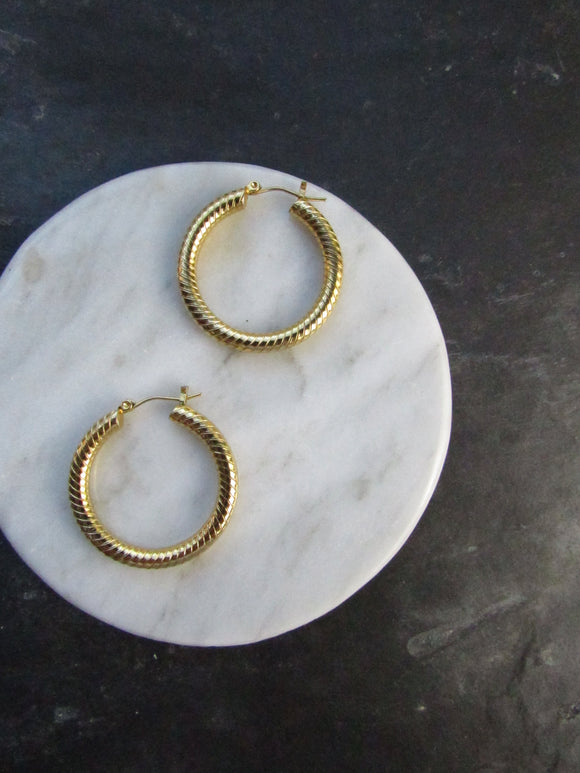 Dainty Tube Solid Gold Hoop Earrings