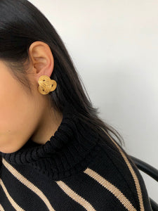 Winding Rope Gold Statement Earrings