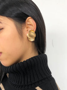 Wrinkle Surface Oval Gold Statement Earrings