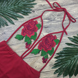 Sexy Backless Rose Swimsuit