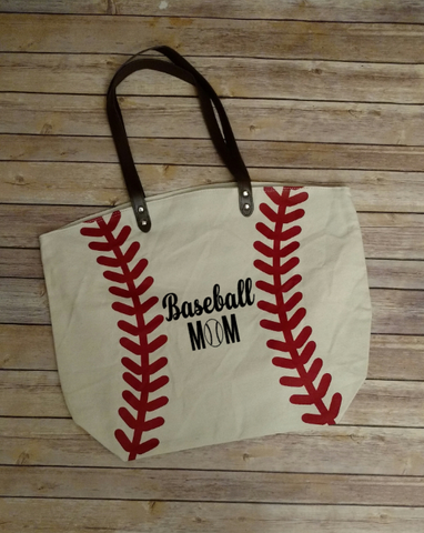 Personalized Baseball Tote Bag, Baseball Mom