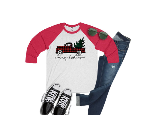 Christmas Plaid Truck Raglan Baseball Style or T Shirt