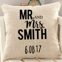 Mr & Mrs Personalized Wedding Pillow Cover Christmas