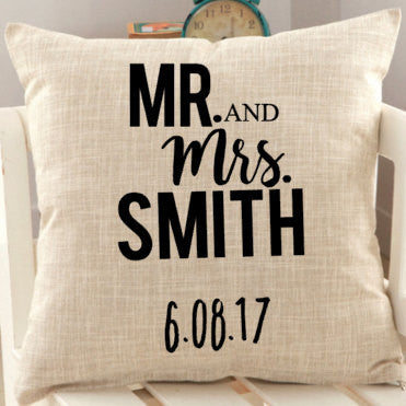 Mr Mrs Personalized Wedding Pillow Cover Christmas Awebee Designs
