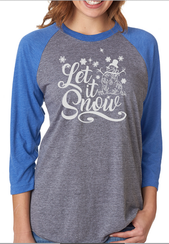Let It Snow Raglan Baseball Style Tee Shirt