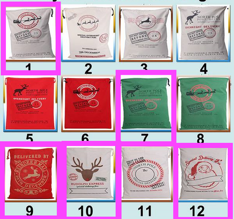 Personalized Santa Sack and Reindeer Sack, Christmas Gift Sacks