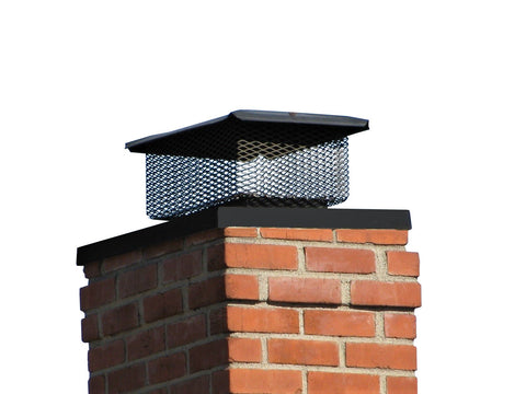 "Universal Chimney Cap for the Midwest and Northeast - Black Galvanized - 3/4"" Mesh"