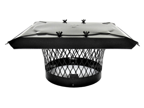 "Stackable Round Single Flue Chimney Caps for Masonry Chimneys - Black Powder Coated - 3/4"" Mesh"