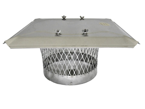 "Stackable Round Single Flue Chimney Caps for Masonry Chimneys - 304 Stainless Steel - 3/4"" Mesh"