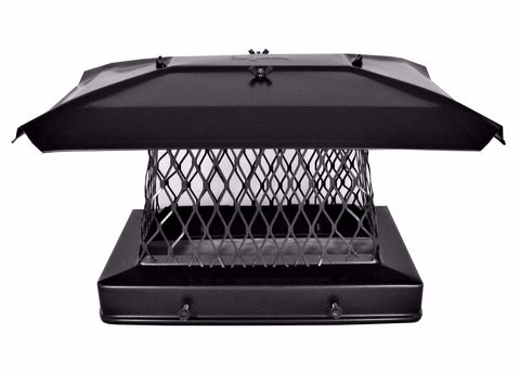 "Solid Frame Chimney Cap - Black Powder Coated - Stackable 3/4"" Mesh"