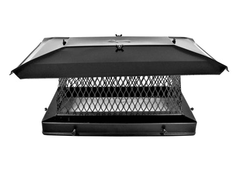 "Single Flue Chimney Cap for Oval or Rectangular Flues - Black - CA 5/8"" Mesh"