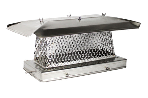 "Single Flue Chimney Cap for Oval or Rectangular Flues - 304 Stainless Steel - CA 5/8"" Mesh"