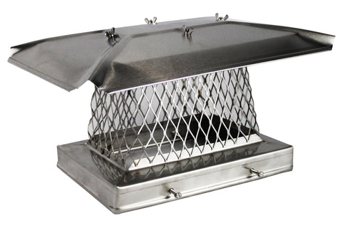 "Solid Frame Chimney Cap - 304 Stainless Steel - Stackable 3/4"" Mesh"