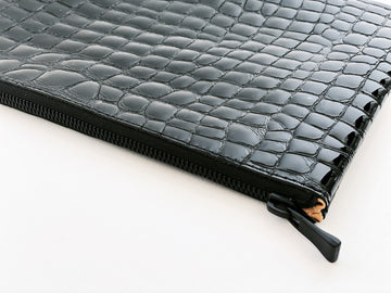 Dena Roy Mo Clutch in Black Patent Leather Crocodile Leather