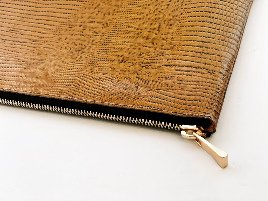 Dena Roy Mo Clutch Gold Snake Leather purse