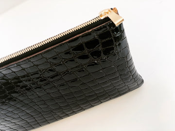 Dena Roy Mo Clutch Chocolate embossed crocodile on cowhide leather  with a shiny patent finish