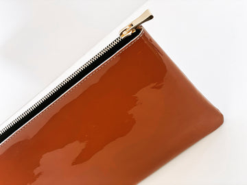 Dena Roy Mo Clutch Caramel Patent Leather  Purse