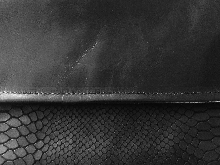 Dena Roy - Two toned solid Black + Black Matte embossed Kobra 100% Italian leather midsize clutch.