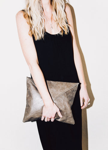 Dena Roy - The Dee Midsize Clutch in Mocha 100% Italian leather clutch with envelope style flap.