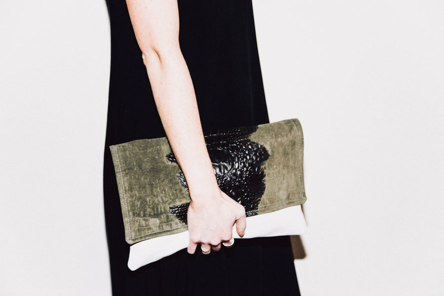 Dena Roy - Two toned Olive embossed Crocodile Suede + White 100% Italian leather midsize clutch.