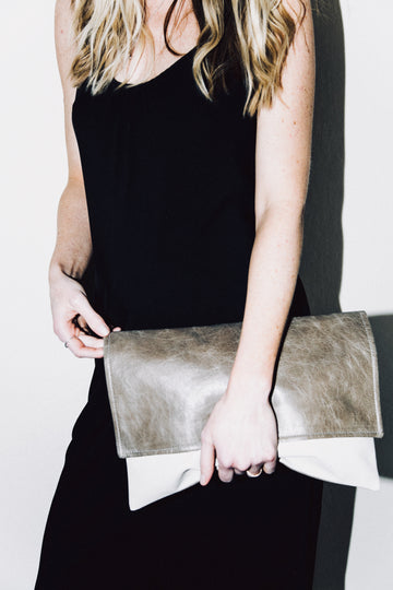 Dena Roy - Two toned Mocha + Bone embossed Stingray 100% Italian leather midsize clutch.