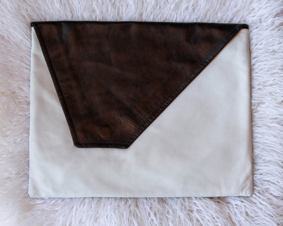 Dena Roy, Dorothy 100% leather white and black oversized clutch, front