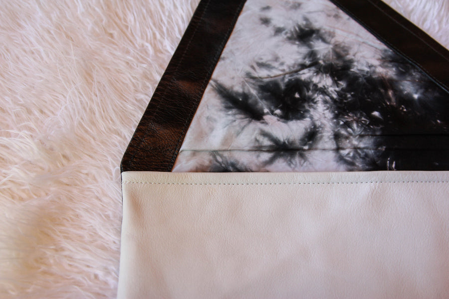 Dena Roy, Dorothy 100% leather black and white oversized clutch, black and white marble dyed liner