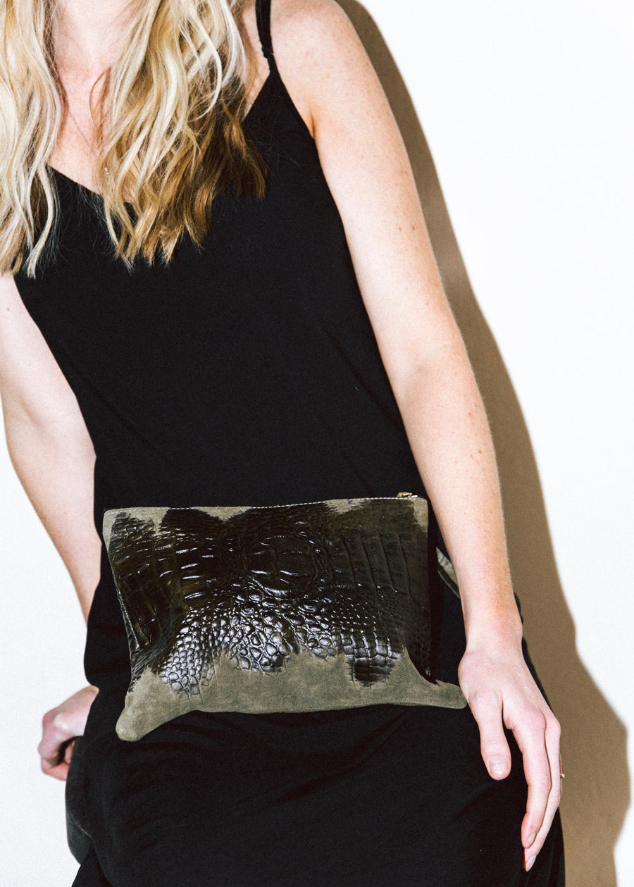 Dena Roy - Small single tone Olive crocodile embossed suede 100% Italian specialty leather clutch with gold zip closure.