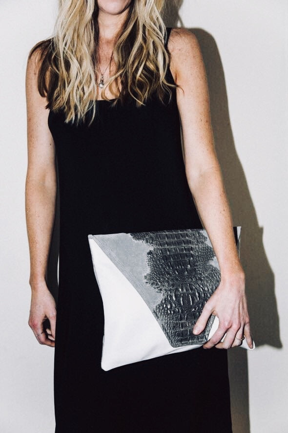 Dena Roy - Two toned Sterling grey crocodile embossed suede + White 100% Italian leather large clutch.