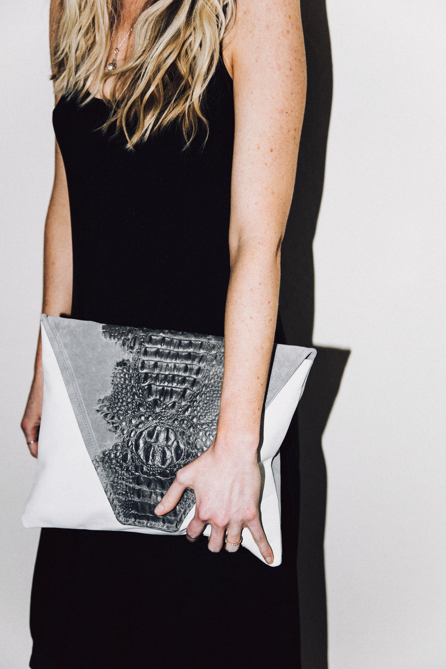 Dena Roy -Two toned Sterling grey crocodile embossed suede + White 100% Italian leather large clutch.