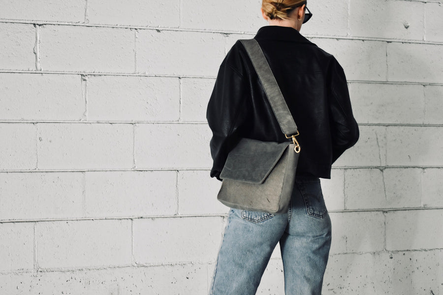 The Anna Crossbody bag combines our Grey nubuck with our Grey Hair on Hide and is paired with our Mable hand dyed liner. The Anna is the perfect versatile day to night bag. Featuring a shorter removable crossbody strap, hitting a little higher on the body. If you're feeling it, remove the strap and use the body of the bag as a clutch.