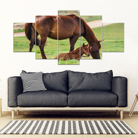 Horse mother Framed Canvas