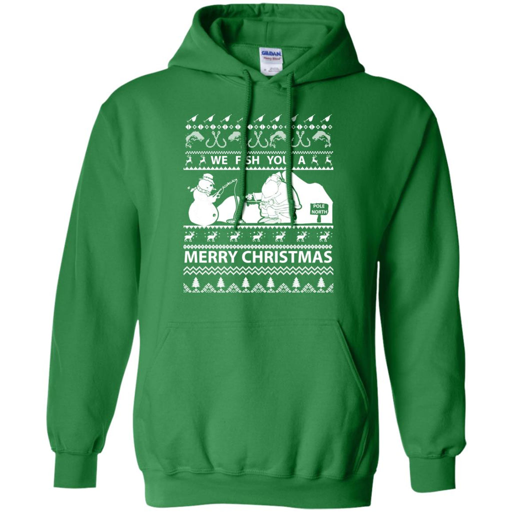 We Fish You a Merry Christmas Fishing Ugly Christmas Sweater Pullover Hoodie